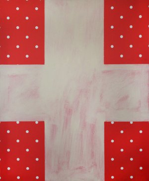 White Cross on a Red Polka-Dotted Background. Suprematism from Euroshop series. 2017
